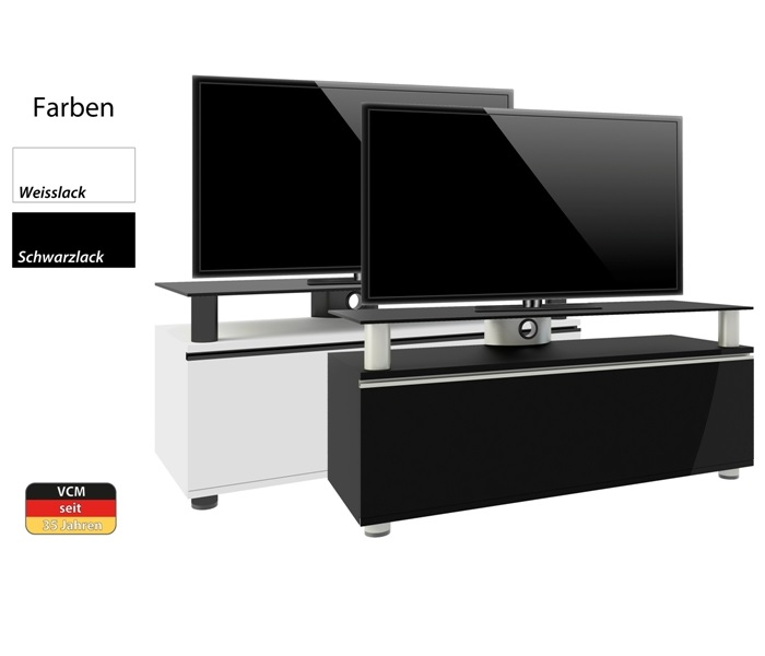 tv lowboard clano in wei oder schwarz von vcm. Black Bedroom Furniture Sets. Home Design Ideas
